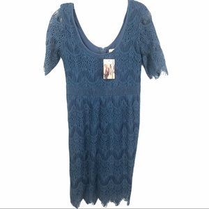 🆕 UO Sz Med Pins and Needles BLUE Lace Dress